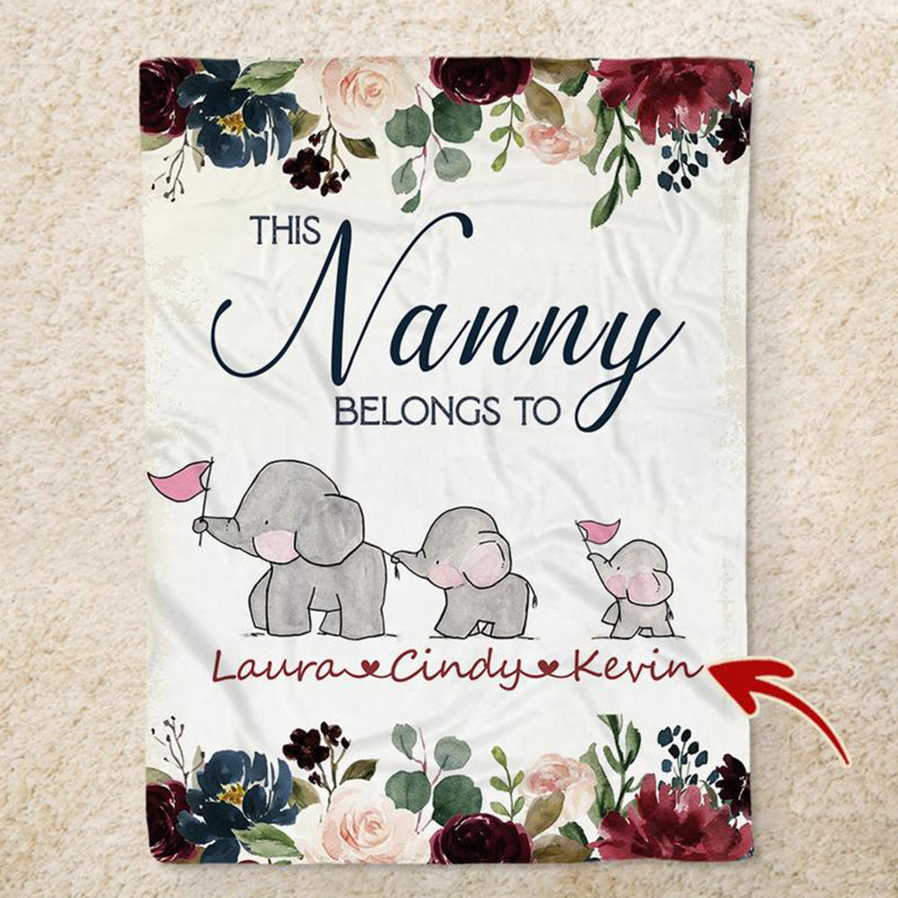 Custom Christmas ELEPHANT FAMILY Blanket with Names