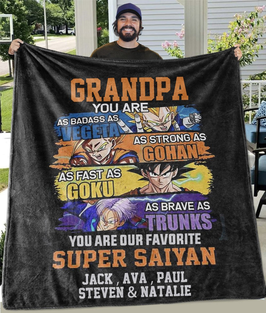 Custom Fleece Blankets with Nickname & Kids' Names III - Perfect Birthday Holiday Gifts for Dad Uncle & Grandpa