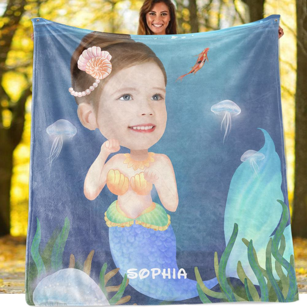 Personalized Hand-Drawing Kid's Photo Portrait Velveteen Plush Blanket X - Made in USA