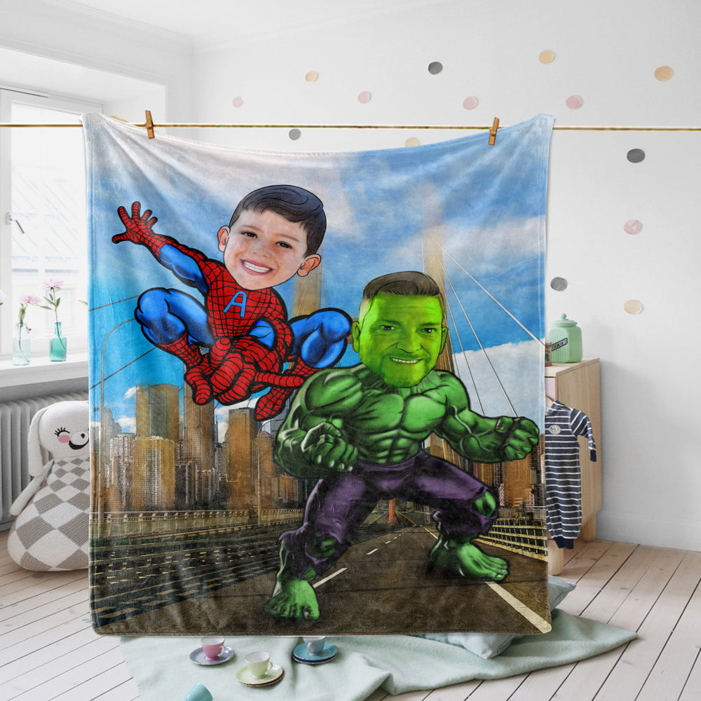 Personalized Hand-Drawing Photo Portrait Fleece Blanket IV