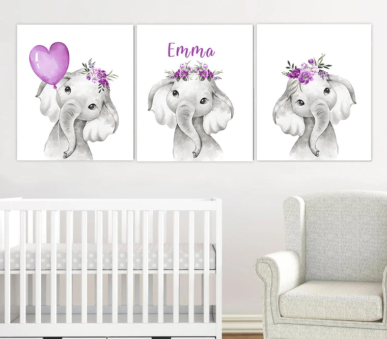 Personalized Name Purple Floral Baby Elephant Canvas Wall Art, Baby Girl Nursery Wall Art, 3 Piece Set Canvas Set