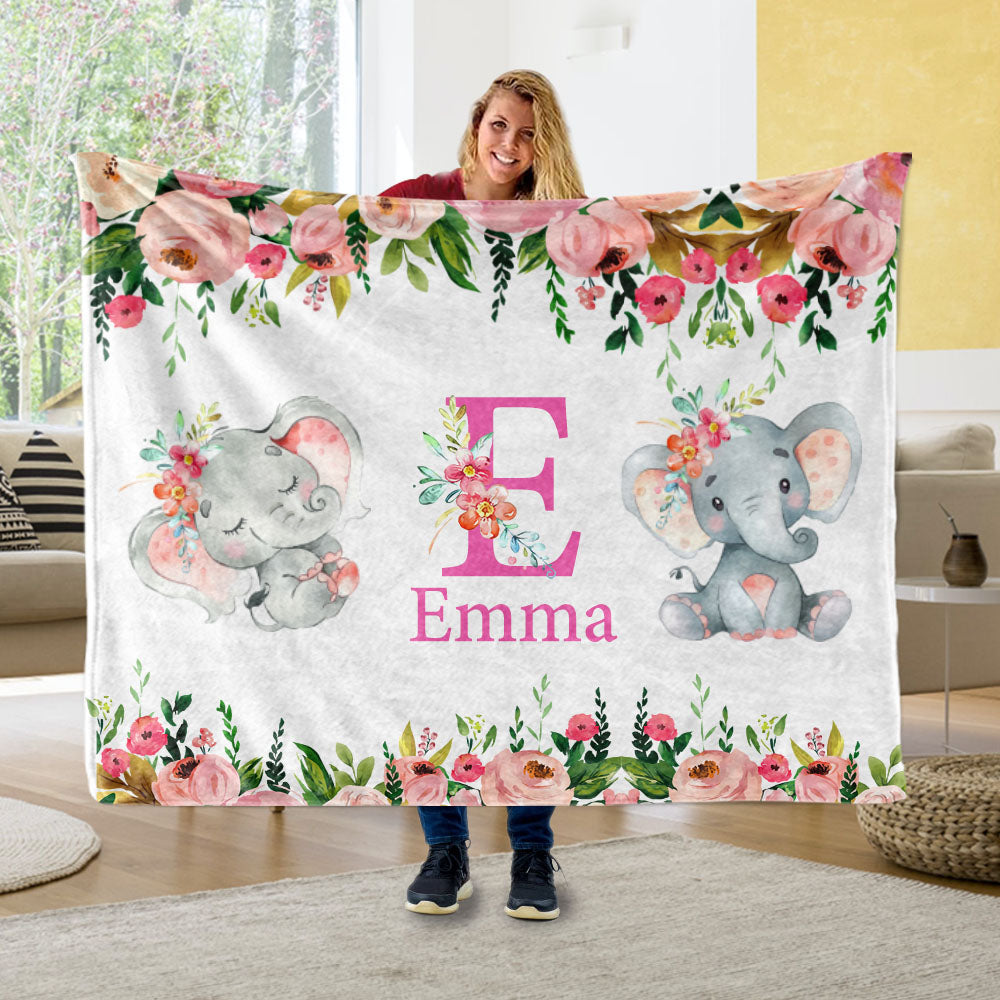 Custom Initial & Name Pink Floral Elephant Fleece Blankets