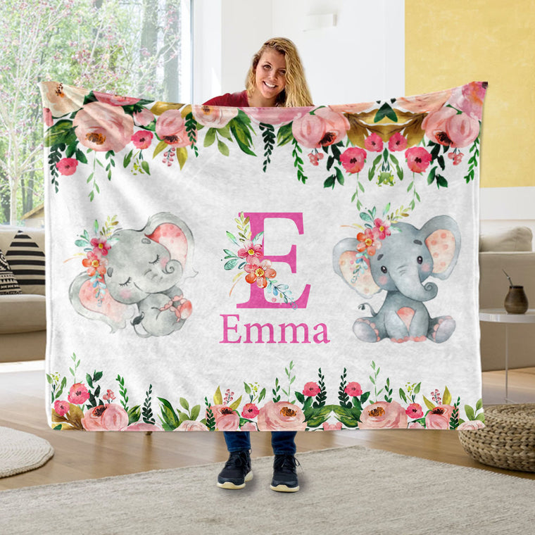 Custom Initial & Name Pink Floral Elephant Blankets