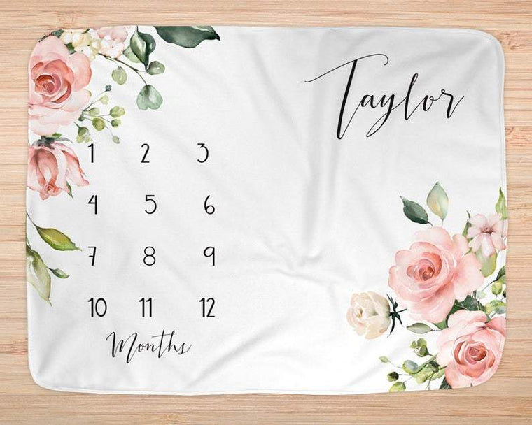 Personalized Baby Miletone Blankets, Baby Girl Monthly Milestone Blankets, Personalized Name Blankets, New Baby Blankets