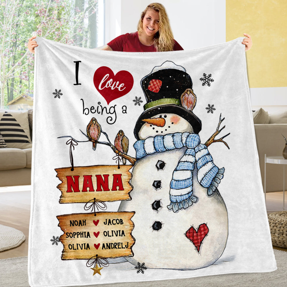 Personalized I love being Fleece Blanket With Nickname and Kid's Name