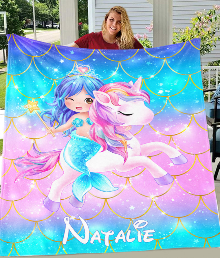 Personalized Magical Unicorn & Mermaid Fleece Blankets II - BUY 2 SAVE 10%