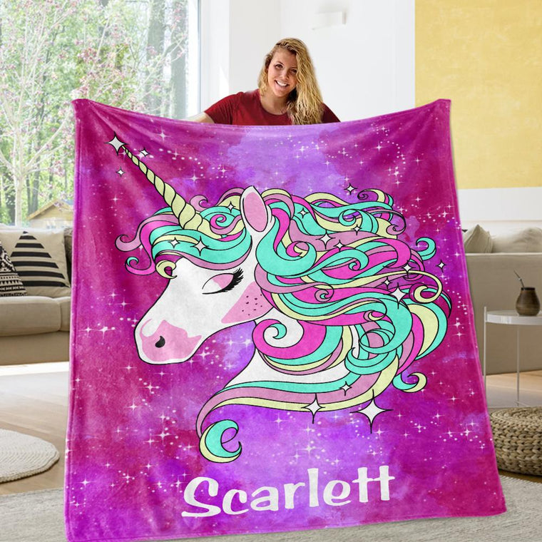 Custom Magic Unicorn Cozy Plush Fleece Blanket - 3 Colors Available