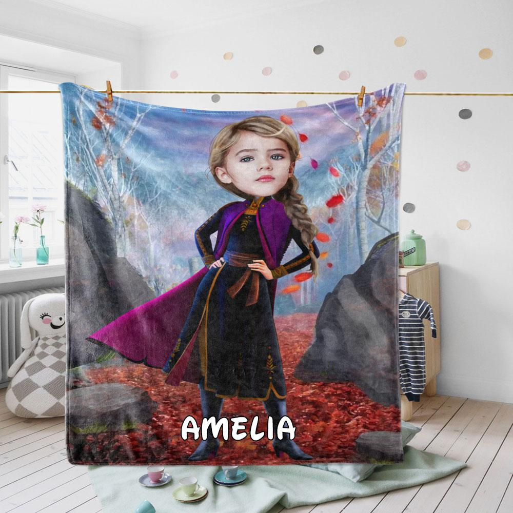Personalized Hand-Drawing Kid's Photo Portrait Velveteen Plush Blanket XXI - Made in USA