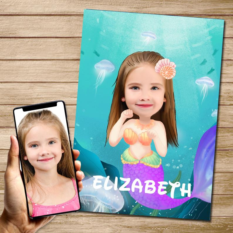Personalized Mermaid Hand-Drawing Kid's Photo Portrait Canvas Wall Art II