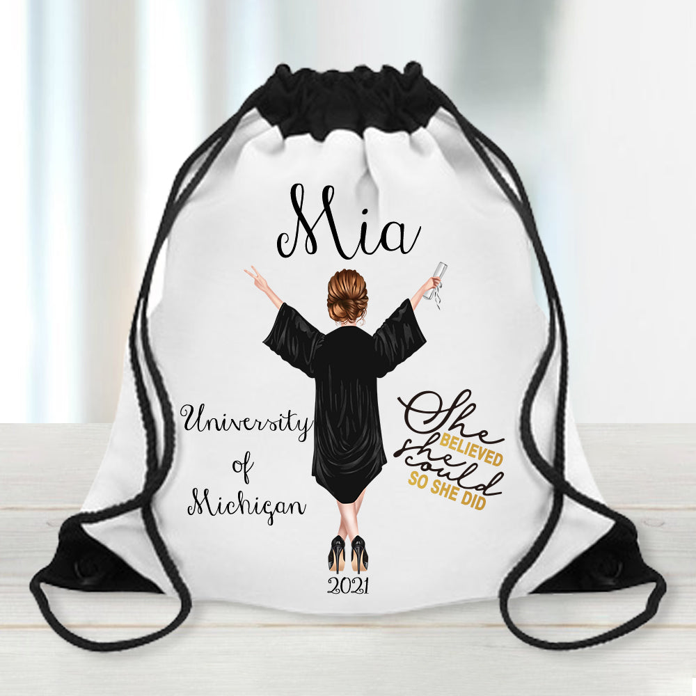 'She Believed She Could So She Did' Custom Name Graduation Drawstring Backpack