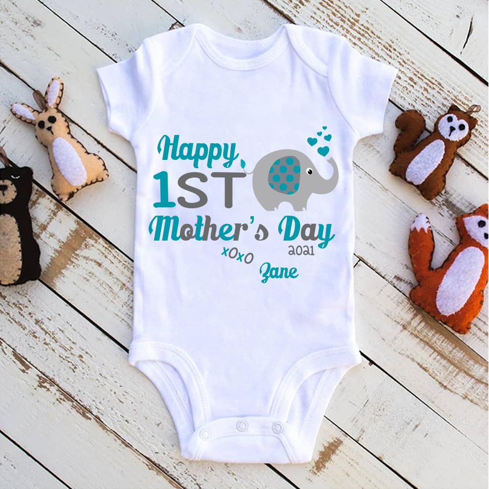 Personalized Name Little Elephant Mother's Day Baby Onesie
