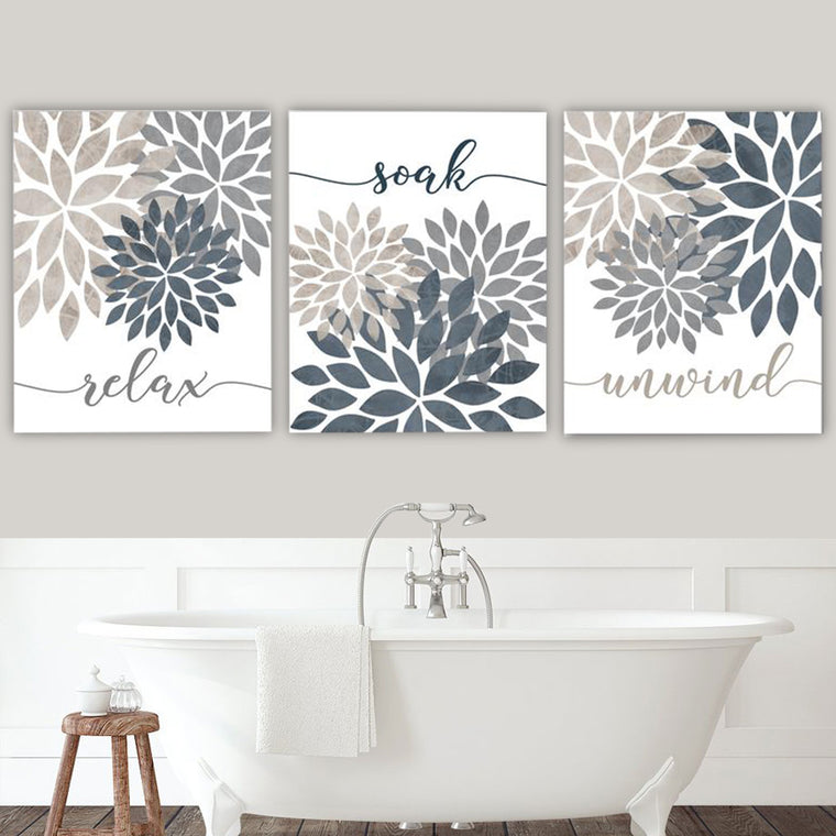 Relax Soak Unwind Bathroom Canvas Art Set I