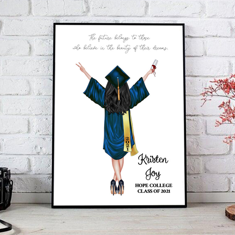 Personalized Graduation Canvas Print for Class of 2021 (Framed Included)
