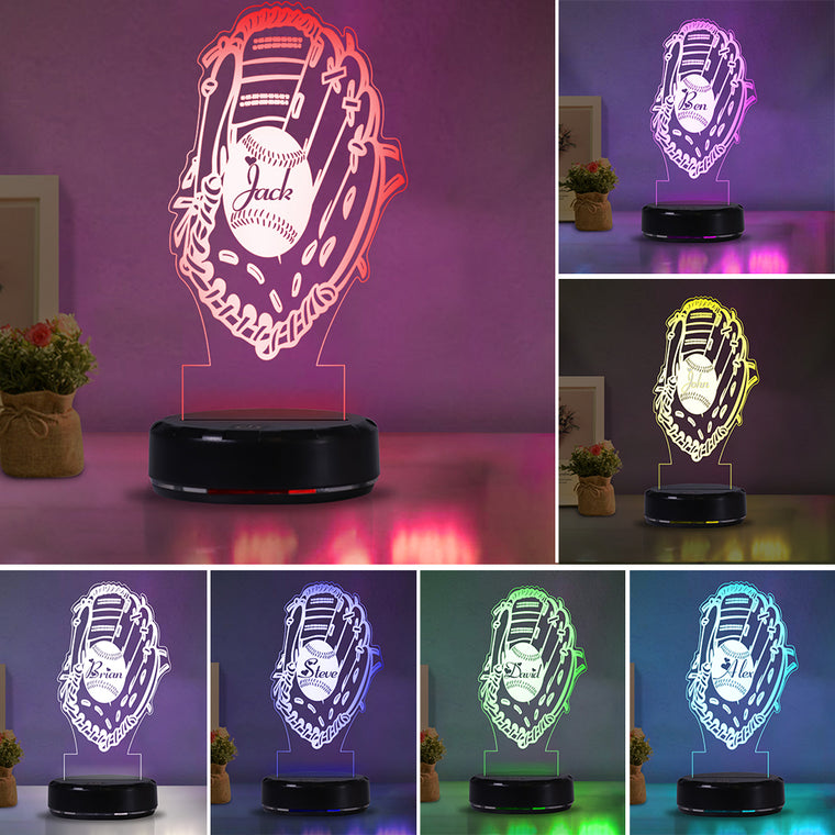 Custom Name Baseball Acrylic Night Lights