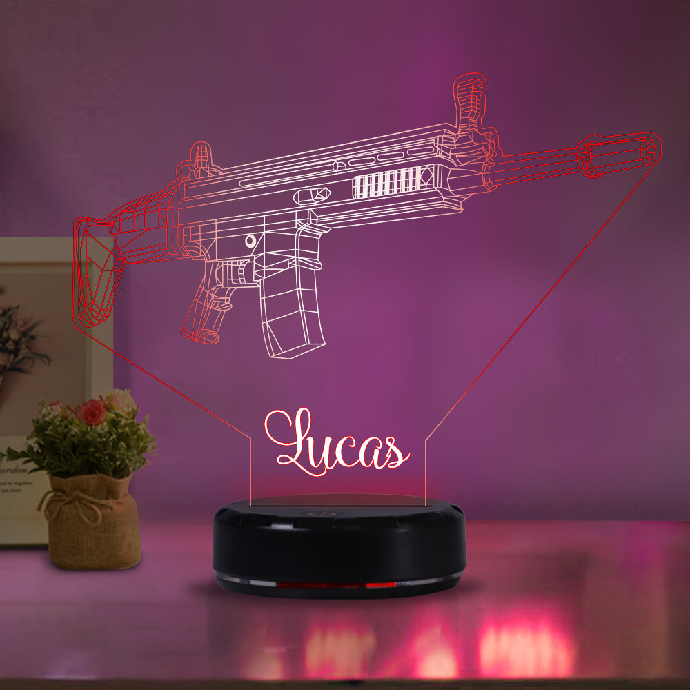 Personalized machine gun acrylic light