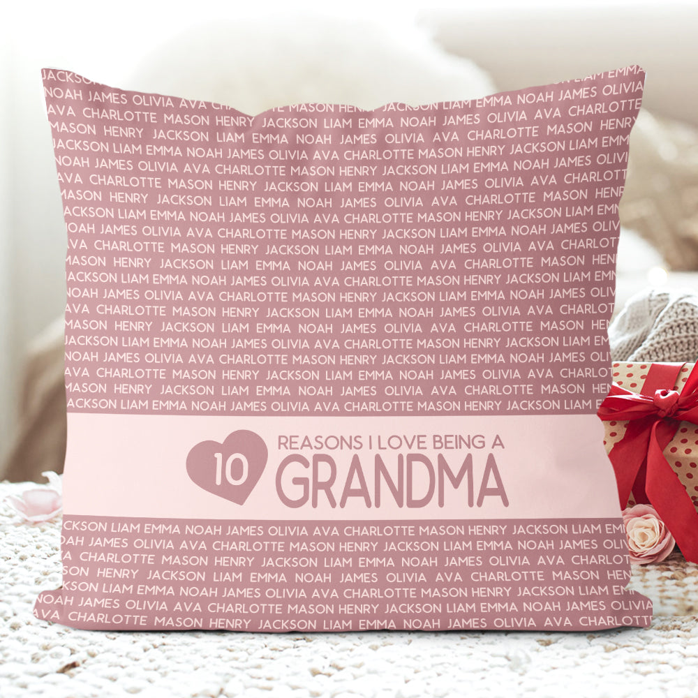Personalized Grandkids Name Pillowcase Iii, Custom Mothers Day Gift