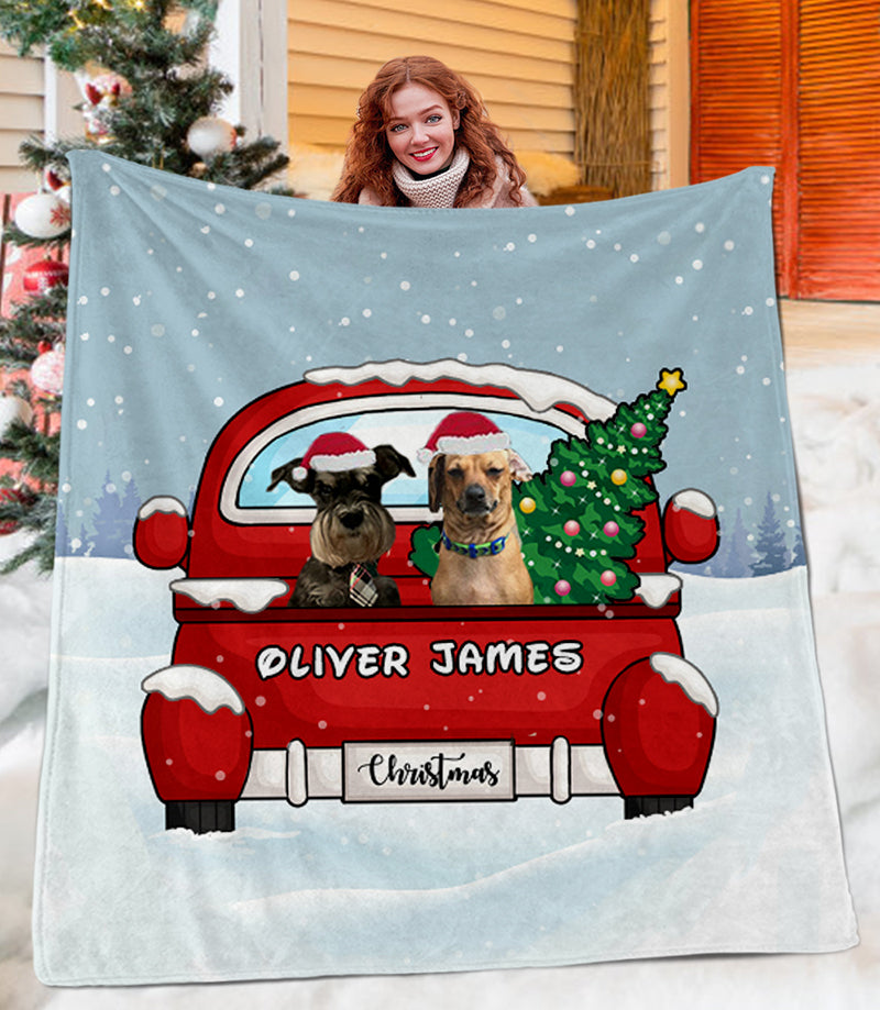 Personalized MERRY CHRISTMAS Blanket With Pet's Photo