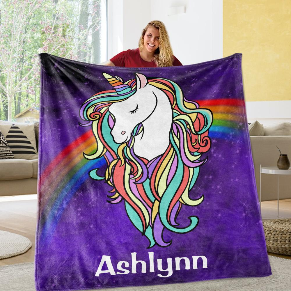 Custom Magical Unicorn Cozy Plush Fleece Blanket