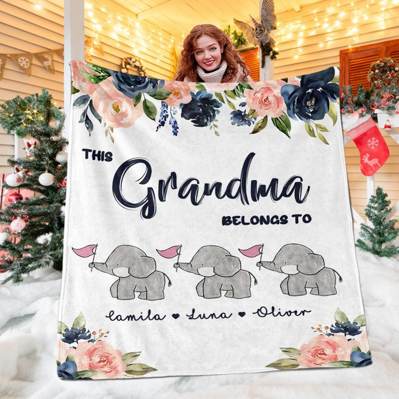 Custom ELEPHANT FAMILY Blanket with Nickname & Kids Names
