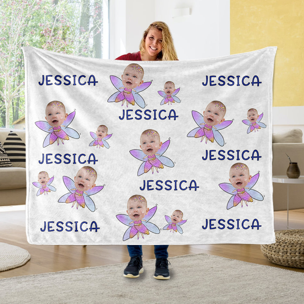 Custom Face & Name Cozy Plush Fleece Blankets II - BUY 2 SAVE 10%