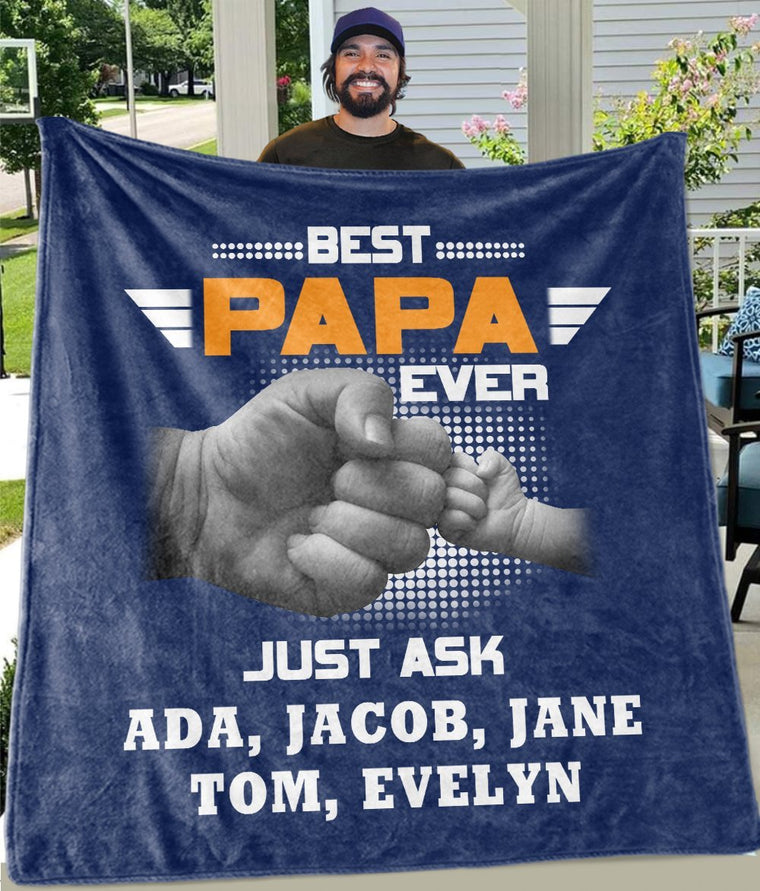 BEST PAPA EVER Custom Title Kids' Names Fleece Blankets - Perfect Birthday Holiday Gifts for Dad Uncle & Grandpa