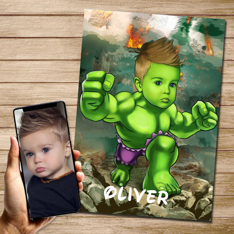 Personalized Hand-Drawing Kid's Photo Portrait Canvas Wall Art III