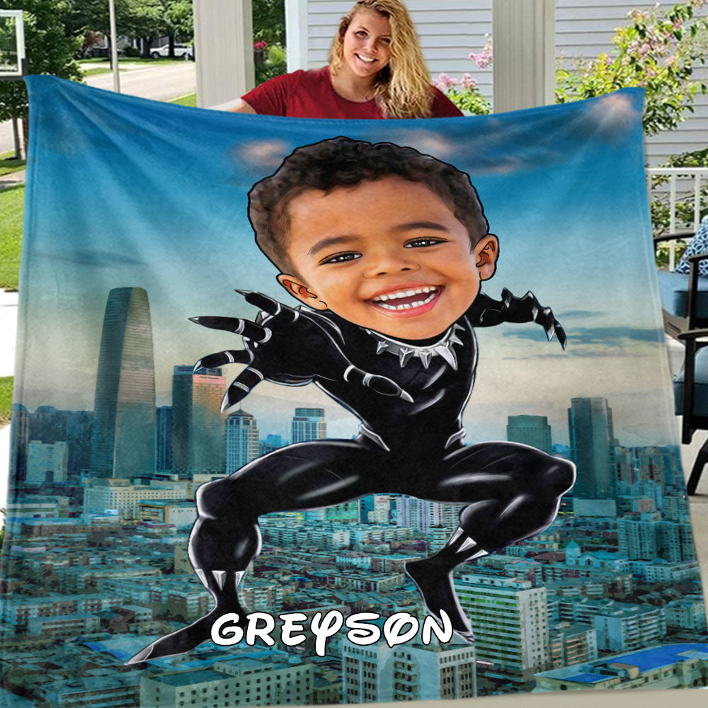 Personalized Hand-Drawing Kid's Photo Portrait Fleece Blanket XII
