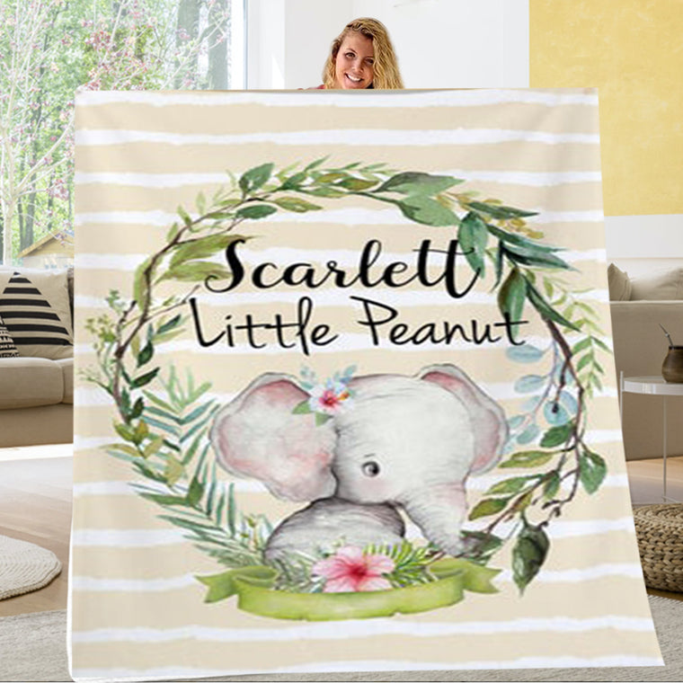 Personalized Little Peanut Baby Name Blanket, Custom Elephant Nursery Bedding