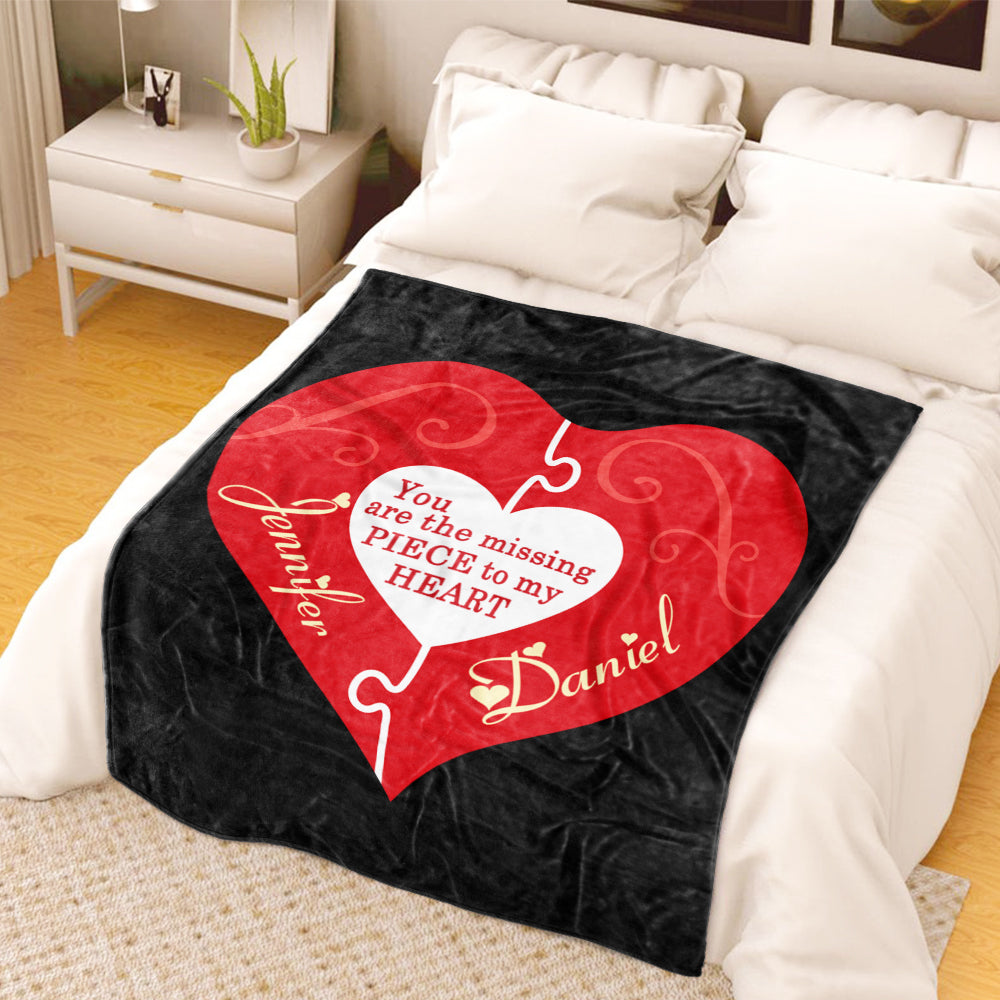 You Are My Missing Piece Custom Name Valentine's Day Blankets