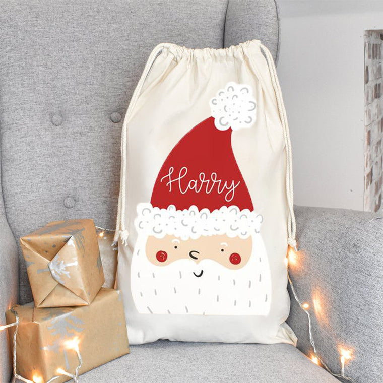 Personalized Santa Sack With Name, Child's Christmas Gift Sack