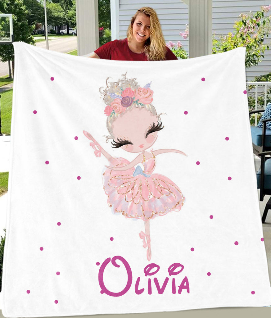 Personalized Name Dancing Girl Cozy Plush Fleece Blankets IV