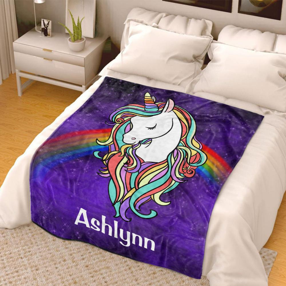 Custom Rainbow Unicorn Cozy Plush Fleece Blanket