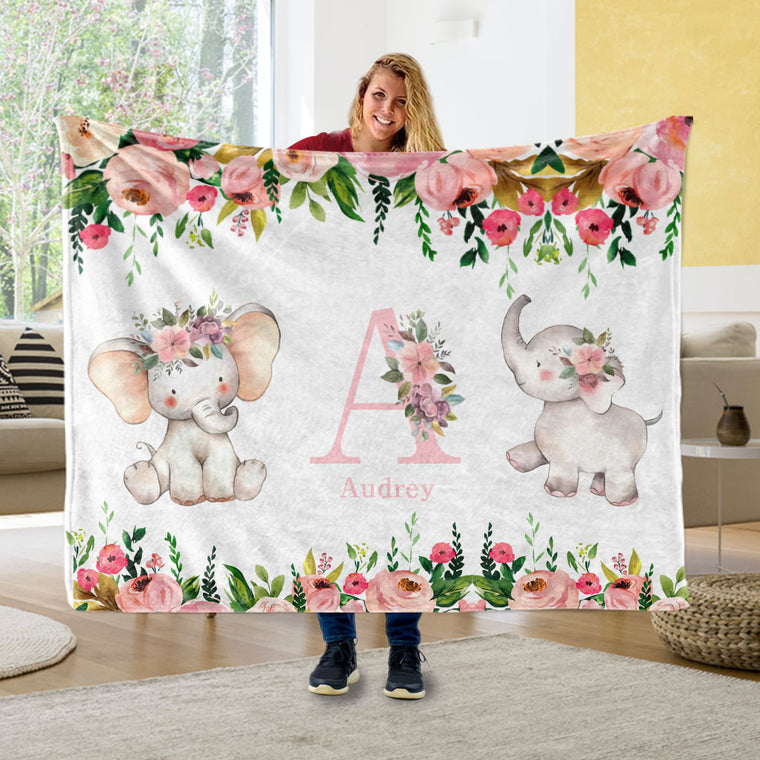 Personalized Initial & Name Pink Floral Elephant Fleece Blankets