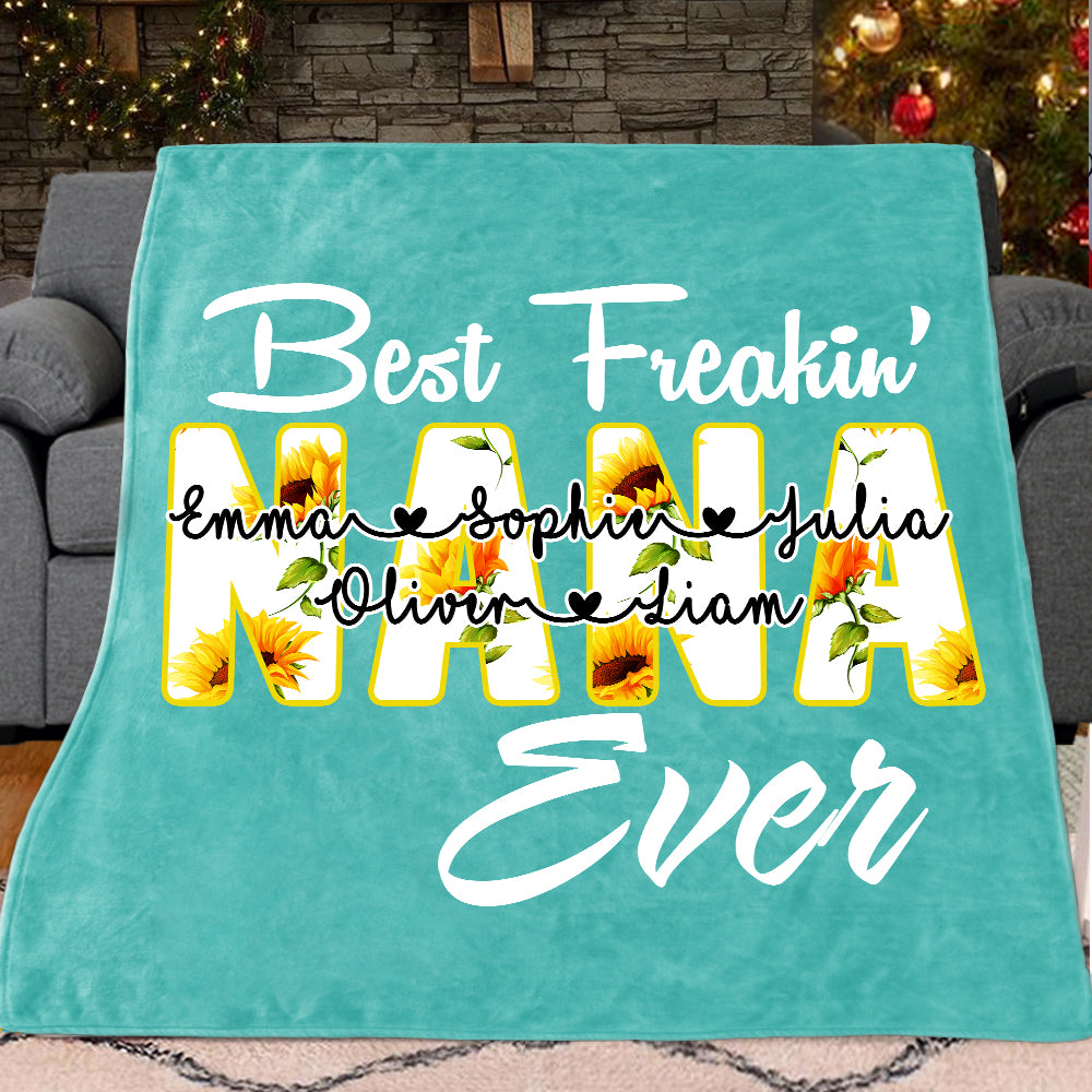 Custom Sunflower Grandparent Blanket with Grandkids' Names