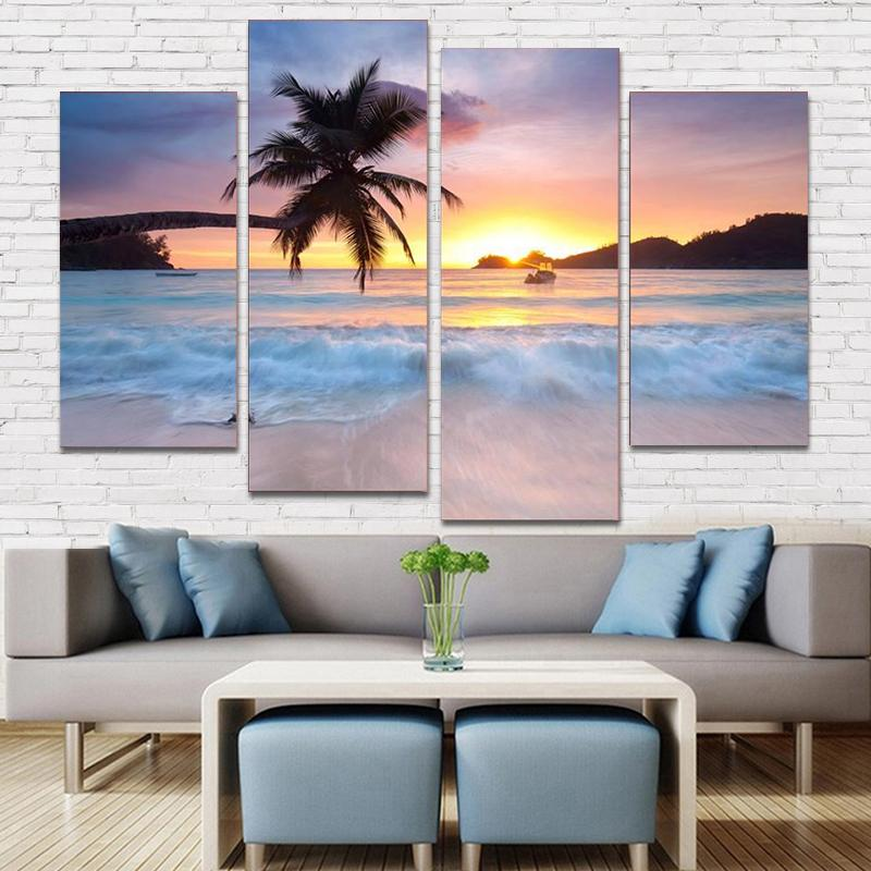 Beach Scene 4 Panel Canvas Art Painting Modern Home Decor