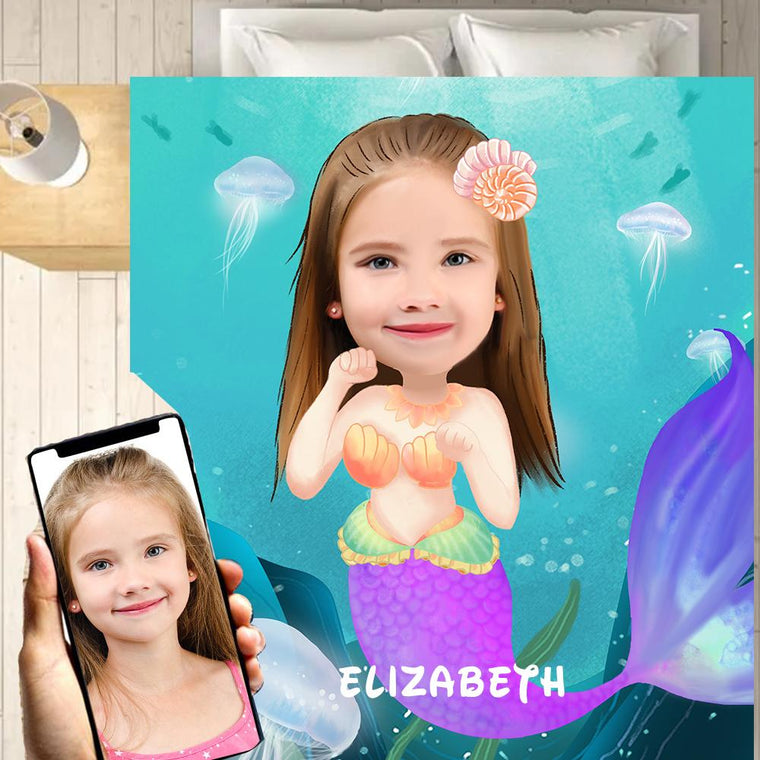Personalized Hand-Drawing Kid's Photo Portrait Velveteen Plush Blanket XI - Made in USA