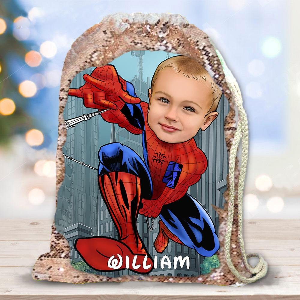 Personalized Hand-Drawing Kid's Portrait Sequin Drawstring Bag IV-BUY 2 SAVE 10%