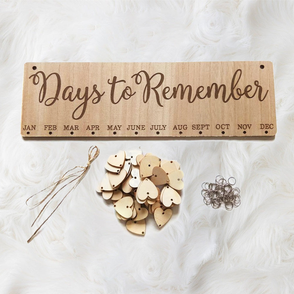 """""""Days to Remember"""" Family Birthday Board With Natural Dics, Wooden Birthday Calendar"""