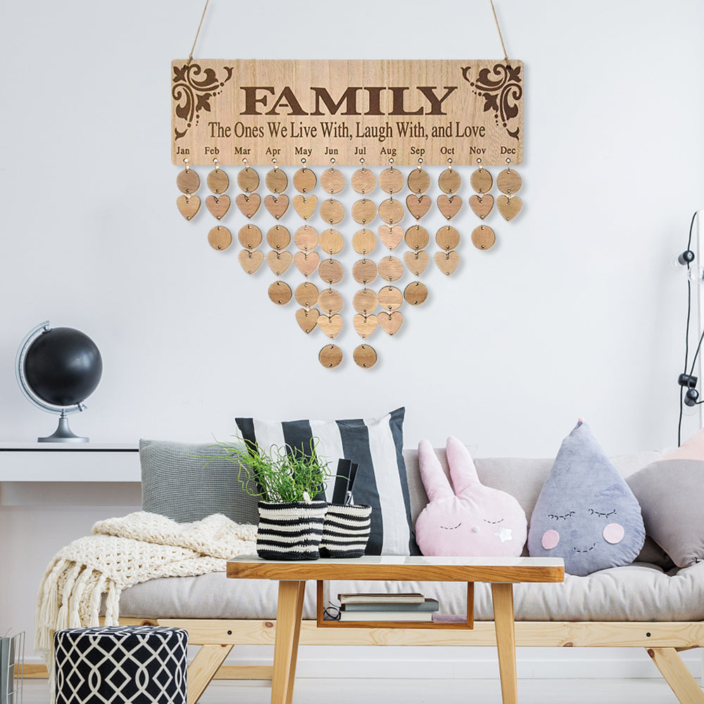 """The Ones We Live With"" Family Birthday Board With Natural Dics, Wooden Birthday Calendar"
