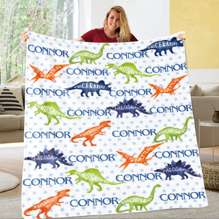 Custom Name Dinosaur Cozy Plush Fleece Blankets