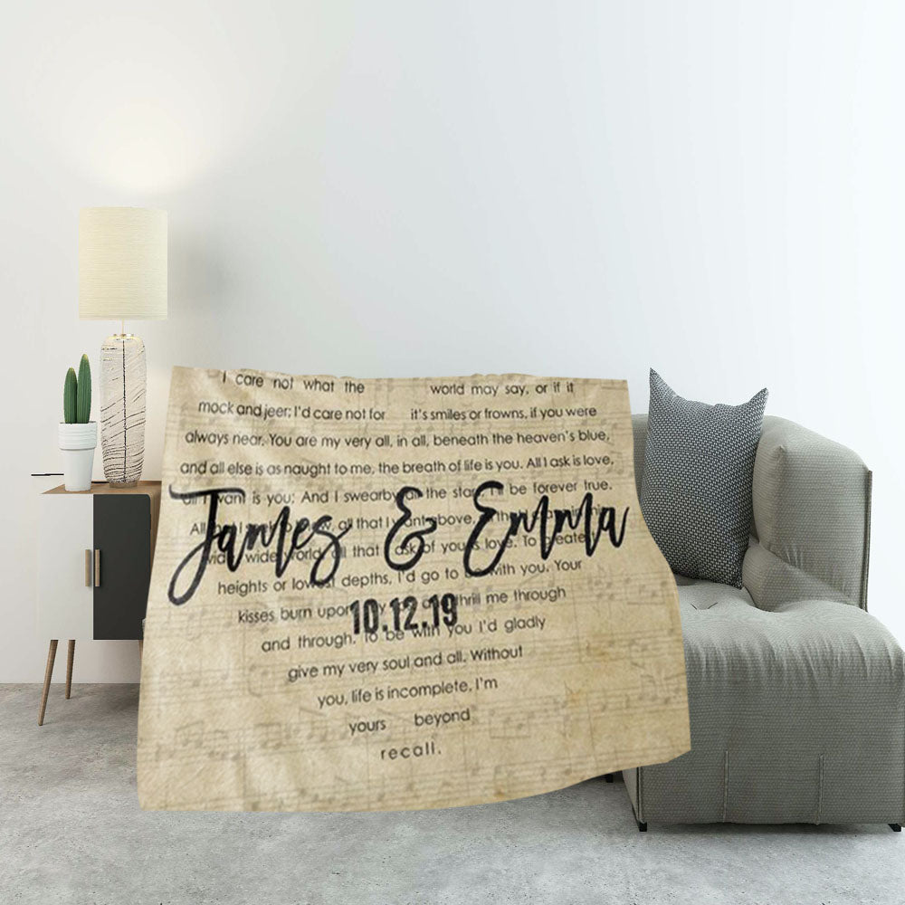 Custom Wedding Names & Date Heart Shape Music Song Lyrics Fleece Blanket, Personalized Wedding Anniversary and Valentine's Day Gift