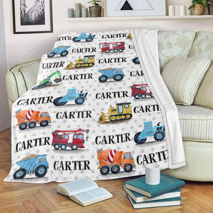 Personalized Name Truck Velveteen Plush Blanket - Made in USA