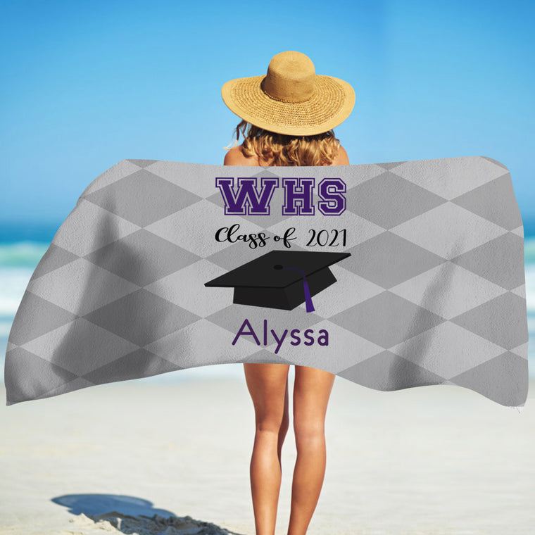 Class Of 2021 Personalized Name Graduation Beach Towel VIII