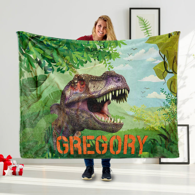 Personalized Name Blanket, Dinosaur Blanket T-Rex, Dino Bedding, Dinosaur Name Blanket Toddler Blanket