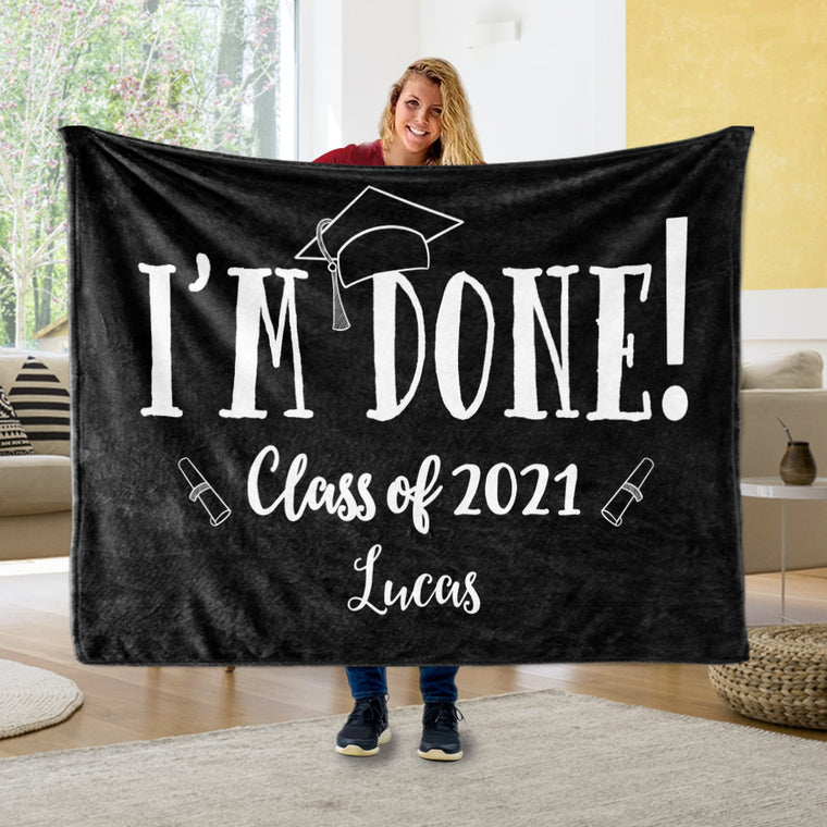 Personalized Graduation Fleece Blanket for Class Of 2021 III