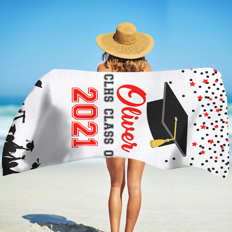 Class Of 2021 Personalized Name Graduation Beach Towel IV