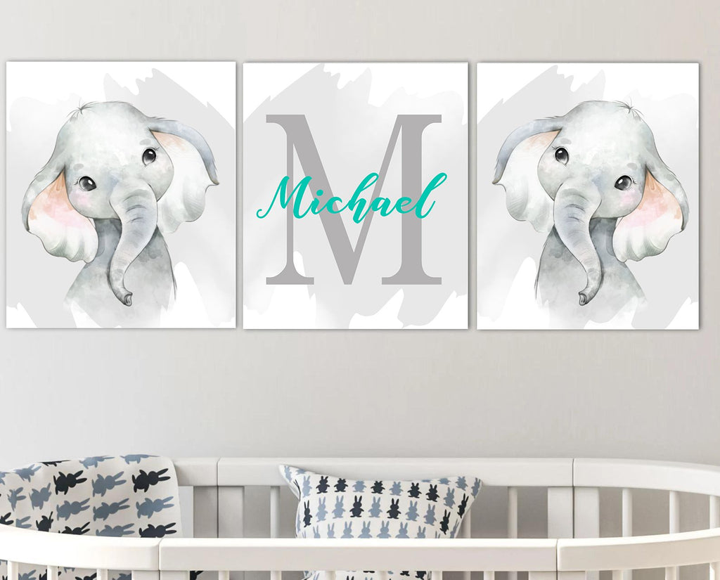 Personalized Initial & Name Baby Elephant Canvas Wall Art, Baby Boy Nursery Wall Art, 3 Piece Set Canvas Art