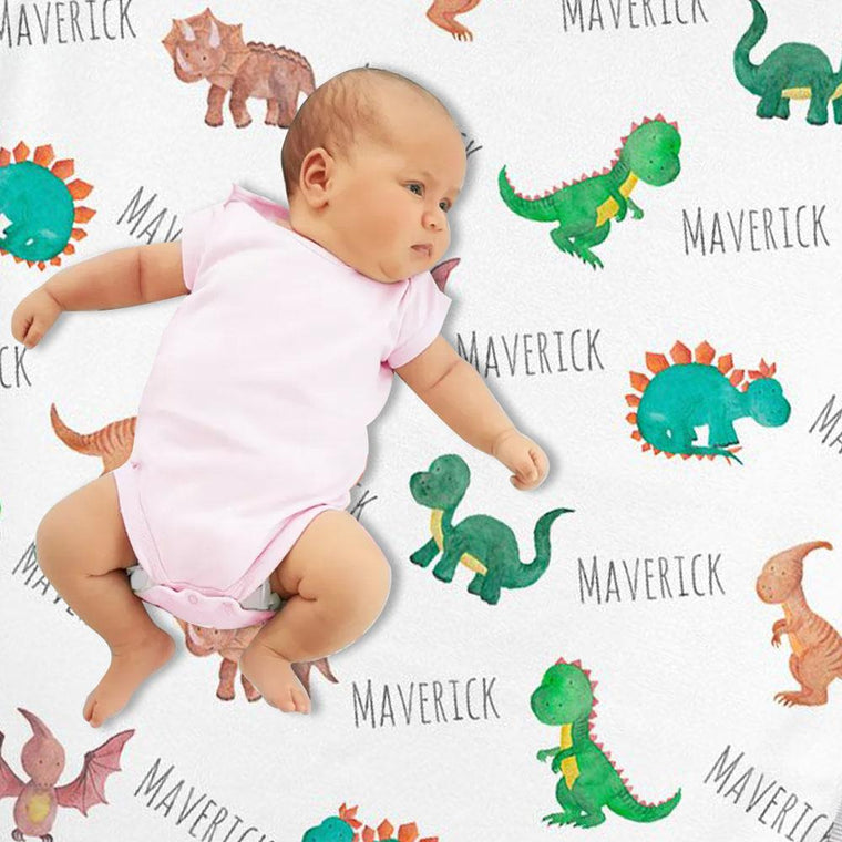Personalized Dinosaur Watercolor Print Baby Name Blanket