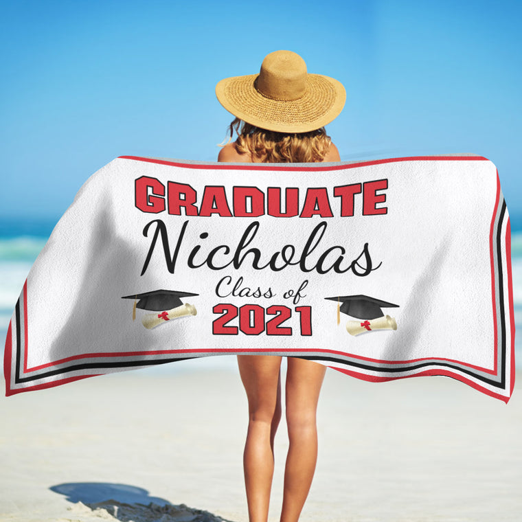 Class Of 2021 Personalized Name Graduation Beach Towel X