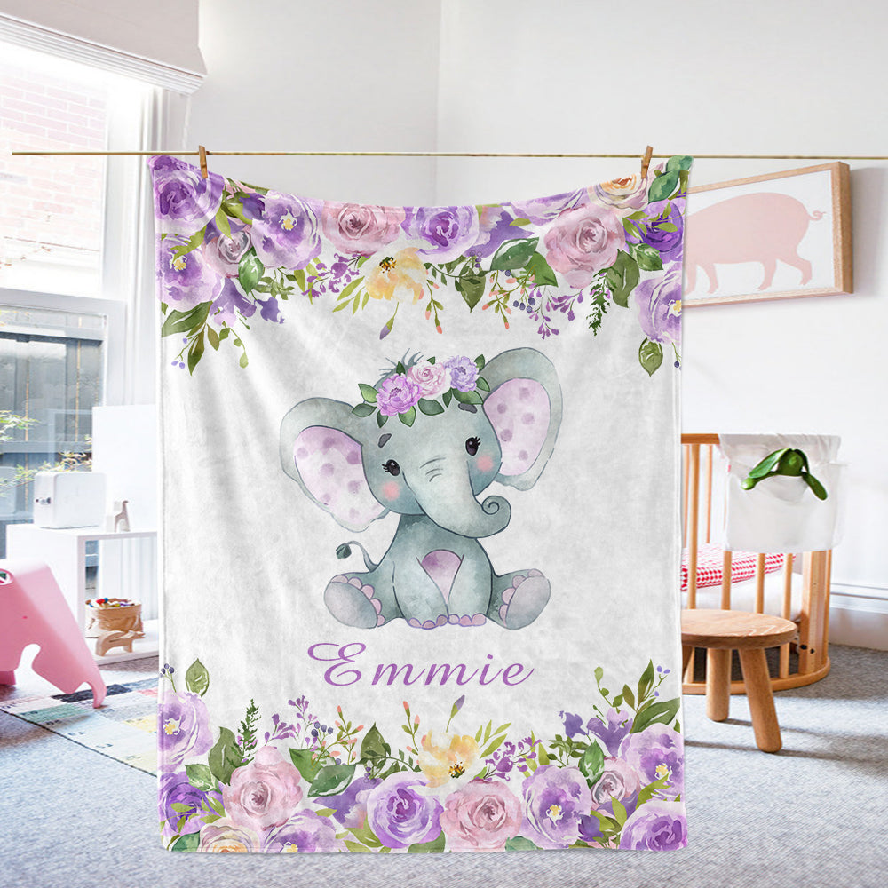 Personalized Name Cute Baby Girl Elephant Fleece Blankets with Purple Flowers